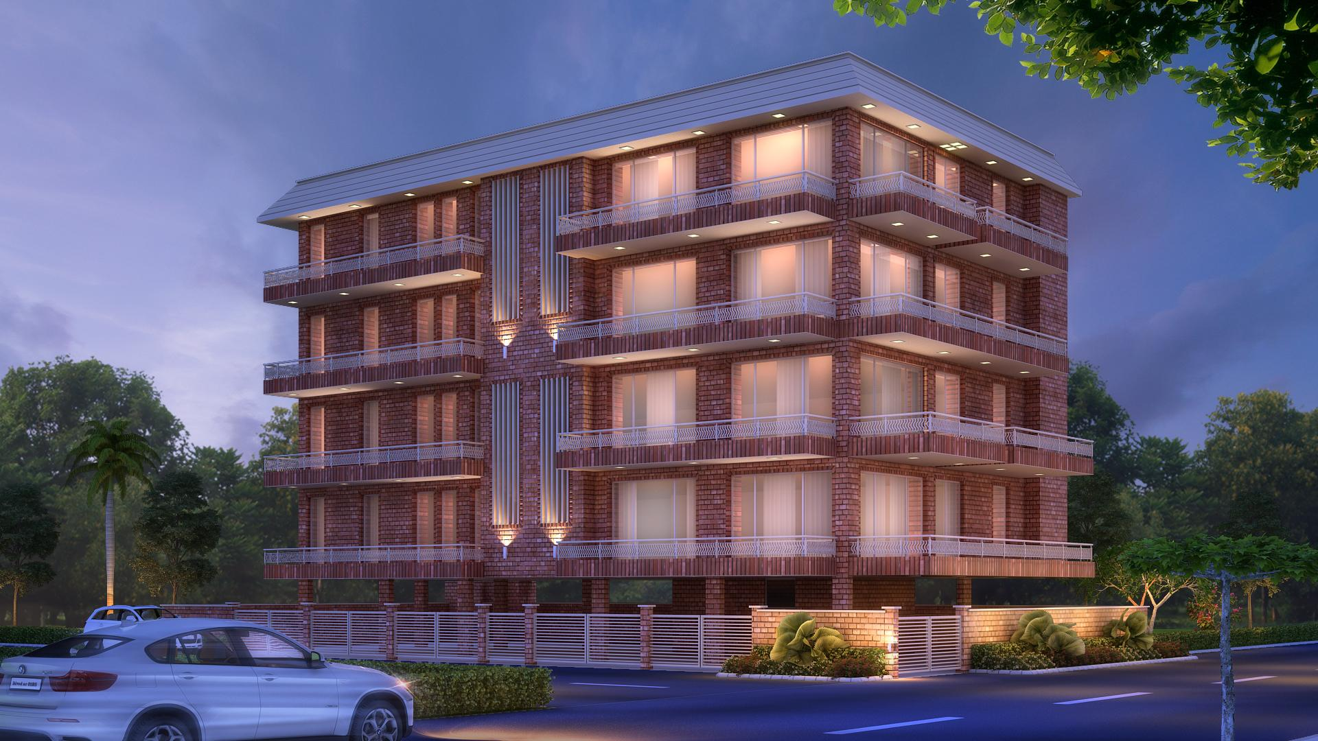 Posh looking corner building located at C-46 Gulmohar Park Built by Florence Homes