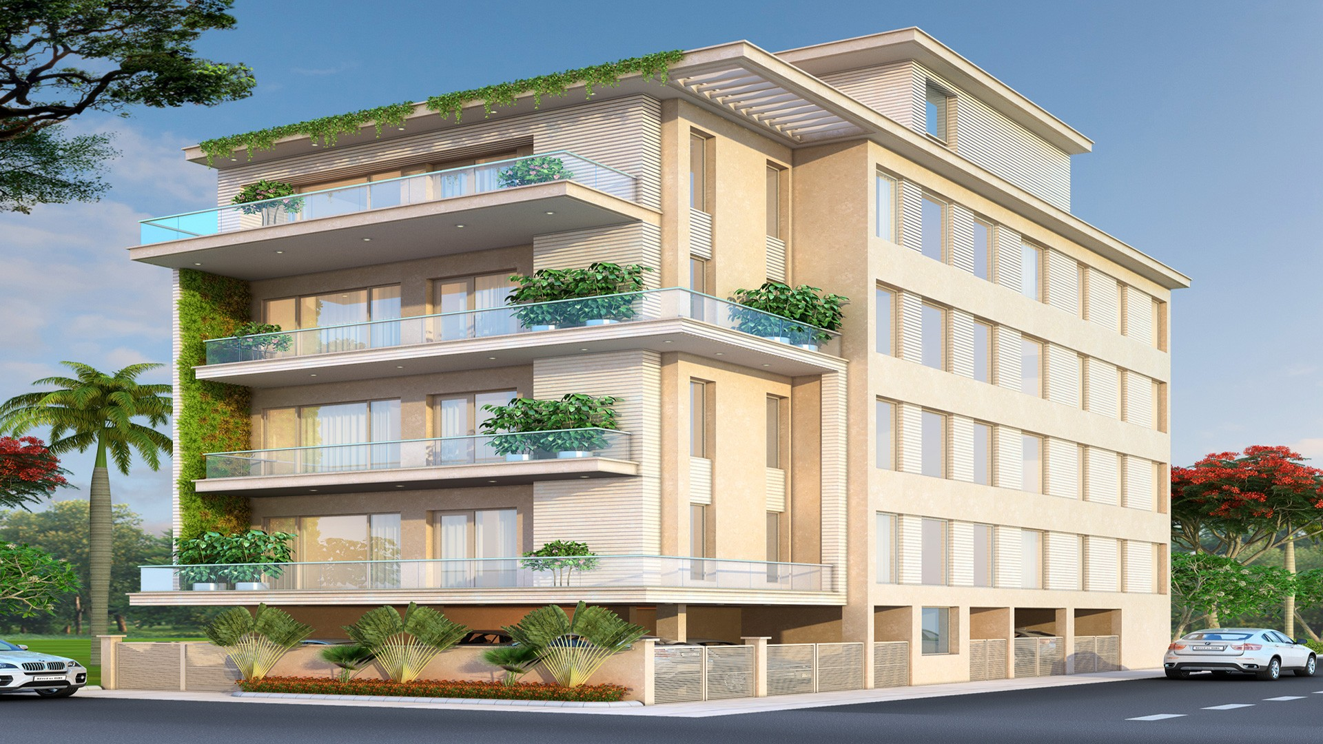 Beautifuly designed building with Green plants in the balconies built by Florence Homes in East of kailash