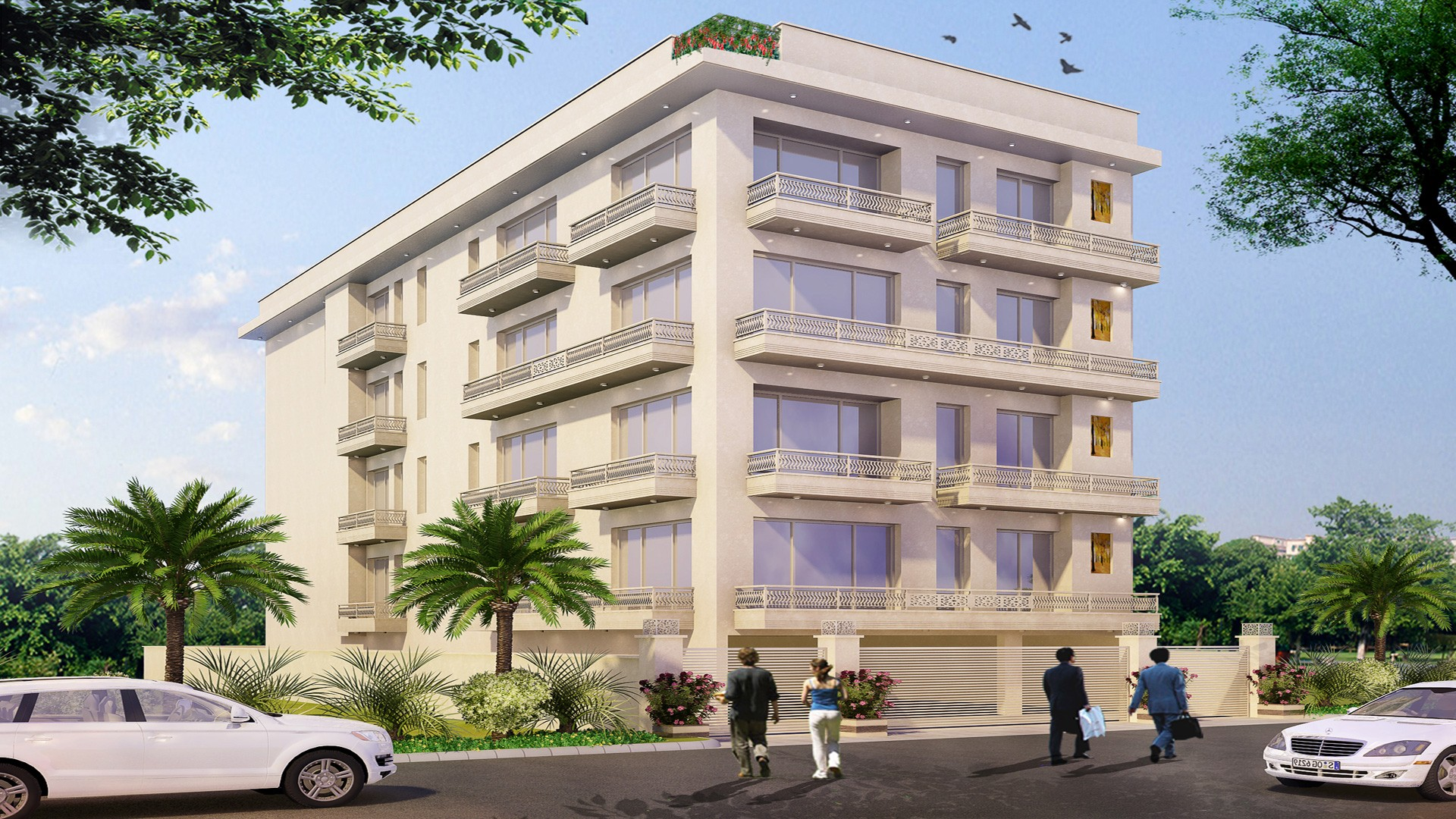 Beautifuly designed corner building with huge balconies built by Florence Homes in Greater Kailash 2